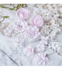 Цветы ручной работы из ткани Diamond, 10 шт, цвет розовый