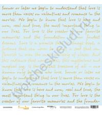 Бумага для скрапбукинга односторонняя с золотым тиснением 30.5х30.5 см, 190 гр/м, коллекция Every Day Gold, лист Golden Script Blue