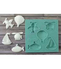 Форма силиконовая (молд) для полимерной глины, Набор Игрушечный транспорт-1