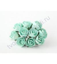 Бутоны роз большие полураскрытые, 5 шт, цвет мятный