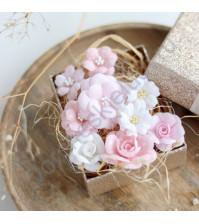 Цветы ручной работы из ткани, 9 шт, цвет бело-розовый микс