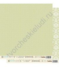 Лист бумаги для скрапбукинга Весенний Зеленый , коллекция Шебби Шик Базовая, 30 на 30 плотность 190 гр