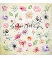 Бумага для скрапбукинга, коллекция Forest story, 20х20 см, 190 гр\м2, лист Flowers morning