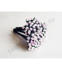 Бутоны роз маленькие 5 шт, цвет бело-розовый
