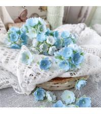 Букетик цветов ручной работы из ткани, 10 шт, цвет голубой микс