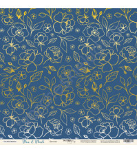 Бумага для скрапбукинга односторонняя с фольгированием 30.5х30.5 см, 190 гр/м, коллекция Blue and Blush, лист Цветики
