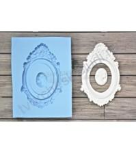 Форма силиконовая (молд) для полимерной глины, Рамка Модерн с камеей маленькой дамы