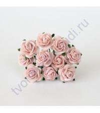 Мини-розочки  1.5 см, 10 шт, цвет розовоперсиковый светлый