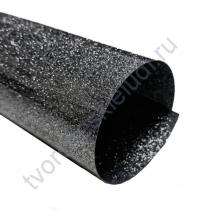 Термотрансферная пленка Глиттер, цвет черный, 25х25 см (+/- 2 см)