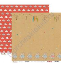 Бумага для скрапбукинга двусторонняя Басик, 30.5х30.5 см 190гр/м, лист Мартовский кот