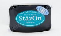 Подушечка чернильная универсальная StazOn, размер 96х67 мм, цвет синий чирок