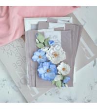 Цветы ручной работы из ткани Шиповник, голубой