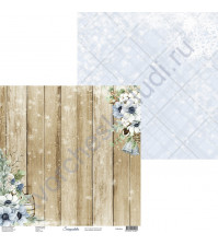 Бумага для скрапбукинга двусторонняя, 30.5х30.5 см, плотность 250 гр/м2, коллекция Snowy Flowers, Лист 4