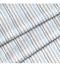 Ткань для рукоделия Полоска серо-голубая, 100% хлопок, плотность 150 гр/м2, размер отреза 50х80 см