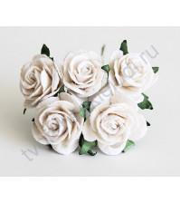 Розочки средние 2.5 см, 5 шт, цвет белый