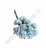 Мини-розочки 1 см, 10 шт, цвет голубой