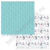 Бумага для скрапбукинга двусторонняя коллекция Будешь моим пингвинчиком?, 30.5х30.5 см, 190 гр/м, лист 3