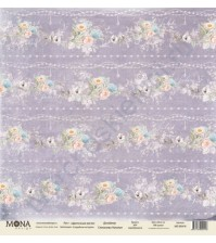 Бумага для скрапбукинга односторонняя Свадебная история, 30.5х30.5 см, 190 гр/м, лист Цветочные кисти