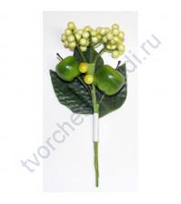 Букетик декоративный с зелёными яблочками, длина 16 см