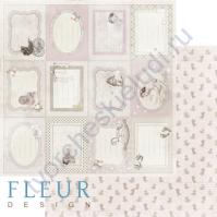 Бумага для скрапбукинга двусторонняя, коллекция Наш малыш Девочка, 30х30см плотность 190г/м, лист Горизонтальные рамочки
