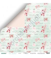 Бумага для скрапбукинга двусторонняя 30.5х30.5 см, 190 гр/м, коллекция Oh, Ballet, лист Пуанты