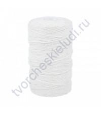 Нить отделочная хлопковая, цвет белый, диаметр 1.4 мм, 1 метр