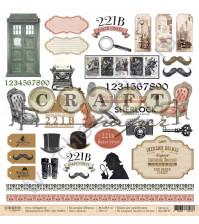 Бумага для скрапбукинга односторонняя коллекция Шерлок, 30.5х30.5 см, 190 гр/м, лист Детали