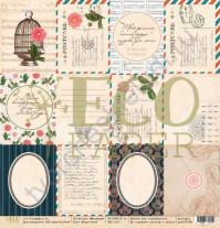 Бумага для скрапбукинга односторонняя 30.5х30.5 см, 250 гр/м, коллекция Мемуары, лист Карточки