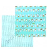 Набор ткани для рукоделия Приключения на Северном полюсе на голубом, 2 лоскута, 100% хлопок, плотность 120г/м2