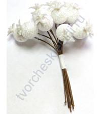 Букетик декоративный Белые ягоды в глитере, 12 шт