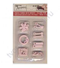 Набор фигурных анкеров с брадсами Photo Turn Shapes Kit, 24 элемента, цвет розовый остров