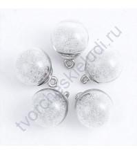 Стеклянный шар-подвеска серебро с микробисером, 16 мм, цвет белый прозрачный
