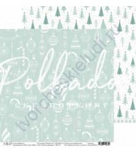 Бумага для скрапбукинга двусторонняя 30.5х30.5 см, 190 гр/м, коллекция Новый кот, лист Ёлочка нарядная