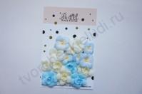 Цветы ручной работы из ткани, 15 шт, цвет жёлто-голубой микс