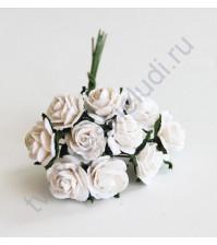 Мини-розочки  1.5 см, 10 шт, цвет белый