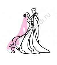 Декор из термотрансферной пленки Свадебный танец, 9.6х10 см, цвет в ассортименте
