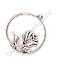 Подвеска металлическая Роза в круглой рамке, 36х35мм, цвет серебро