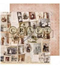 Бумага для скрапбукинга двусторонняя, коллекция Семейный архив, 30.5х30.5 см, 190 гр\м2, лист Фотоархив