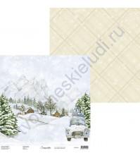 Бумага для скрапбукинга двусторонняя, 30.5х30.5 см, плотность 250 гр/м2, коллекция Snowy Flowers, Лист 2