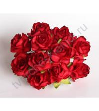 Кудрявые розы 2 см, 5 шт, цвет красный