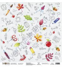Бумага для скрапбукинга односторонняя School, 30.5х30.5 см, 190 гр/м, лист Тетрадь в клетку