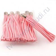 Декоративная кисточка из искусственной замши, длина кисточки 8 см, 1 шт, цвет розовый с золотом