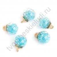 Стеклянный шар подвеска золото со стразами, 16 мм, цвет голубой
