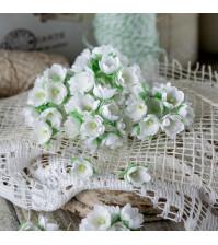 Букетик цветов ручной работы из ткани, 10 шт, цвет белый