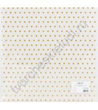 Лист кальки с золотым глиттерным напылением Узор в горошек, 30.5х30.5 см, 110 гр/м