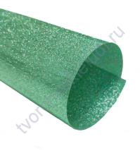Термотрансферная пленка, цвет морская зелень, блестки, 25х25 см, SC101005