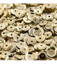 Пайетки круглые с эффектом металлик 6 мм, 10 гр, цвет золото