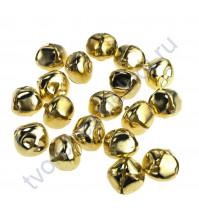 Металлические бубенчики, диаметр 0.8 см, цвет золото, 1 шт
