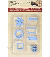 Набор фигурных анкеров с брадсами Photo Turn Shapes Kit, 24 элемента, цвет голубой океан