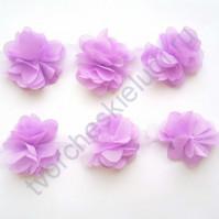 Шифоновые цветы, диаметр 6 см, 1 шт, цвет сиреневый